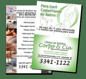 Folder desenvolvido para impressão em offset para clínica de estética Corpo e Cia, com apresentação dos diversos tratamentos oferecidos