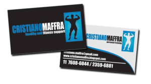 Cartão de Visitas com acabamento em faca especial e Verniz Localizado desenvolvido e impresso para o personal trainer Cristiano Maffra