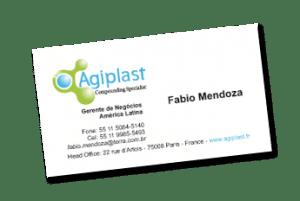 Cartão de Visitas desenvolvido e produzido para reperesentante Agiplast no Brasil, uma das maiores empresas de processamento plástico de alta resistência...