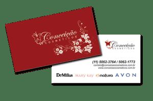 Modelo de cartão de visitas com acabamento em verniz localizado desenvolvido para representante comercial de cosméticos em São Paulo