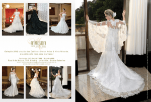 Anuncio Impresso para Maison Noivas, requintada confecção de vestidos para noivas de São Paulo, publicado na revista Figurino Noivas
