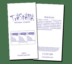 Embalagem plástica desenvolvida para empresa de cosméticos Trestelle, com aplicação para kits diversos de produtos para manicure e pedicure