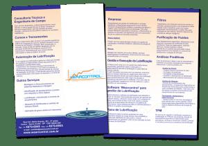 Criação de impresso para empresa WearControl, folder institucional com resumo das principais atividades e serviços relacionados