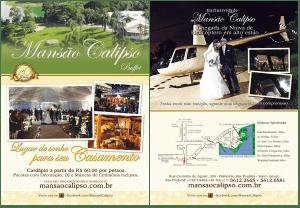 Desenvolvimento e confecção de impresso institucional para o Buffet Mansão Calipso, em papel couchê especial e acabamento em verniz UV