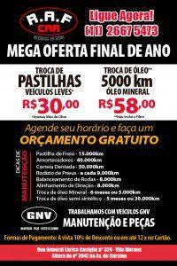 Desenvolvimento Impresso Promocional personalizado para Oficina Mecânica RAF Car, Localizada na Vila Moraes em São Paulo.