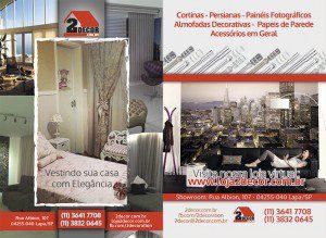 Criação e Produção de folheto promocional de divulgação de ampla distribuição para a 2Decor, loja de cortinas e persianas no Alto da Lapa em São Paulo