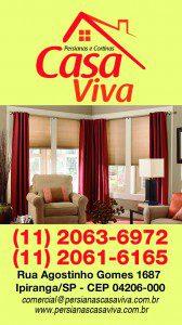 Cartão Vertical de visitas desenvolvido para a empresa Persianas e Cortinas Casa Viva, localizada no bairro do Ipiranga em São Paulo