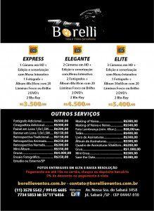 Folheto institucional digital e impresso para a empresa Borelli Eventos, com finalidade de expansão da marca e divulgação de serviços e valores