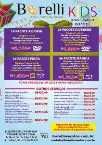 Folheto com tabela de preços e serviços oferecidos para os eventos infantis pela produtora Borelli Foto e Vídeo Jornalismo